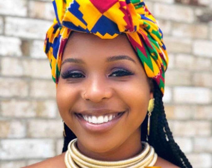 Sima HEADWRAP & FACE MASK set, African Print Face Mask, Ankara Mask, 100% Cotton Reusable Face Mask w/ Filter Pocket, Shaped Mask HWFM1012