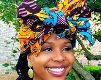 Naima HEADWRAP & FACE MASK set, African Print Face Mask, Ankara Mask, 100% Cotton Reusable Face Mask w/ Filter Pocket, Shaped Mask HWFM1011
