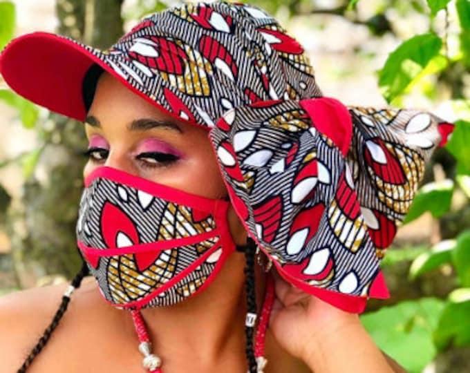 Vivina Hat Headwrap & FACE MASK set, 100% Cotton Washable Reusable Face Mask w/ Filter Pocket, Shaped Mask HBFM1002
