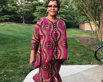 SASSY COMFORT African Print Skirt & Top Set, Fuchsia Ankara Ensemble