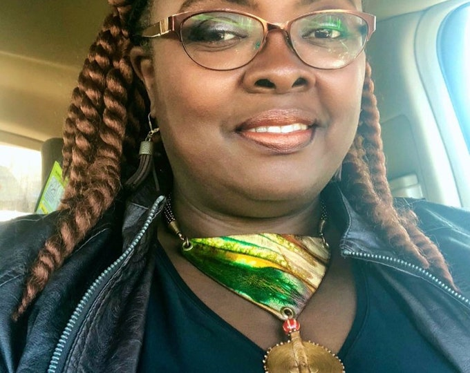 QUEEN AISHA Shibori Leather Neckpiece, Green & Copper Necklace, Boho Chic, African Style
