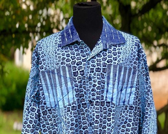 Size 3X African Wax Print Men's Long Sleeve Shirt, Ankara Shirt, Summer Shirt, Cotton Shirt, Kitenge Shirt
