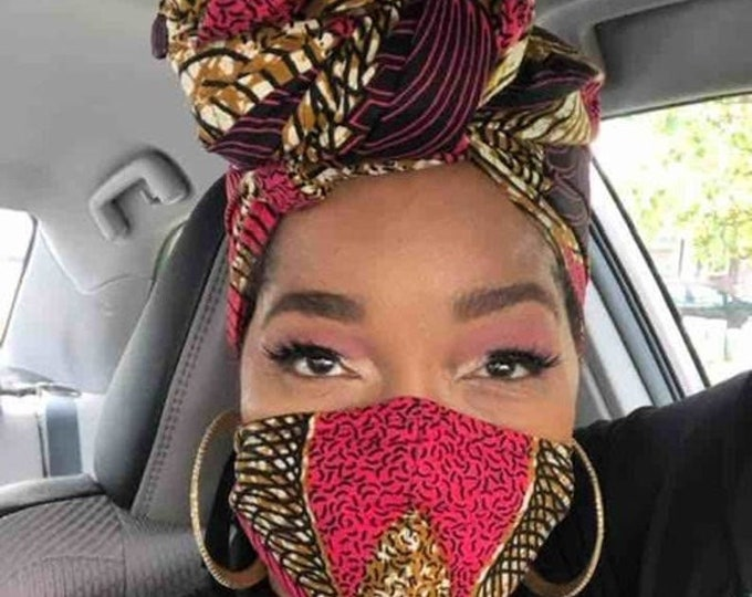 HEADWRAP & FACE MASK set, African Print Face Mask, Ankara Mask, 100% Cotton Reusable Face Mask w/ Filter Pocket, Shaped Mask HWFM2005