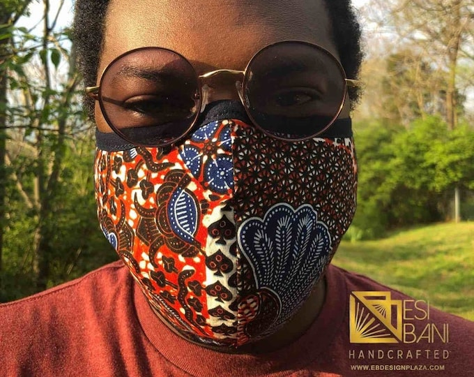 FABRIC FACE MASK, African Print Face Mask, Ankara Face Mask, 100% Cotton Washable Reusable Face Mask with Filter Pocket, Shaped Mask FM1005