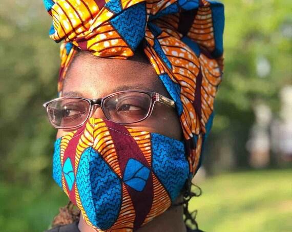 HEADWRAP & FACE MASK set, African Print Face Mask, Ankara Mask, 100% Cotton Reusable Face Mask w/ Filter Pocket, Shaped Mask HWFM2003