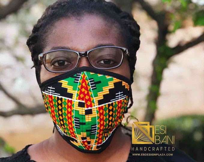 FABRIC FACE MASK, African Print Face Mask, Ankara Face Mask, 100% Cotton Washable Reusable Face Mask with Filter Pocket, Shaped Mask FM1002