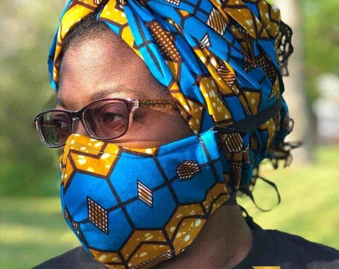 Sika HEADWRAP & FACE MASK set, African Print Face Mask, Ankara Mask, 100% Cotton Reusable Face Mask w/ Filter Pocket, Shaped Mask HWFM2001