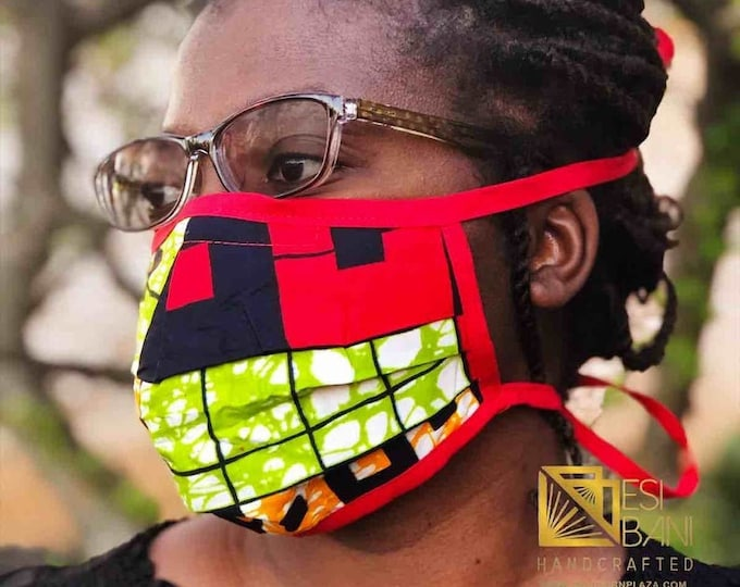 FABRIC FACE MASK, African Print Face Mask, Ankara Face Mask, 100% Cotton Washable Reusable Face Mask with Filter Pocket, Shaped Mask FM1003