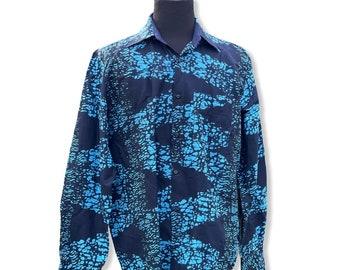 BLUE LAGOON  Men's Shirt, Long Sleeve African Print Shirt, Ankara Shirt, Kitenge Shirt, SKU MLSS1020