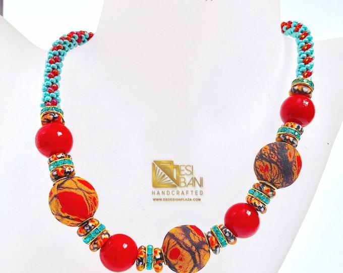 African 'n Tibetan Fusion Necklace/ Ghana Krobo Recycled Glass beads/ Porcelain beads/ Kumihimo/ Japanese Toho Beads