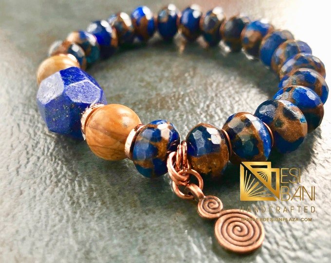 Royal Lapis Mens Bracelet, Gemstone Bracelet, Blue-Copper Bracelet