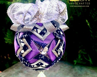 Purple Ice African Print  Christmas Ornament, Quilted Fabric Ornament, Round Ornament,  Royal Ornament, Ankara African Ornament SKU KCO1006