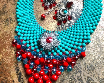 Turquoise 'n Red Sizzle Neckpiece & Earrings Set/ Boho Chic Jewelry/ Statement Neckpiece