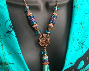 COLOR SPLASH Beaded Bead 'n' Tassel Necklace, Diagonal Cellini Bead, Purple-Teal Necklace