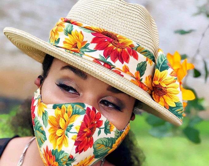 Sunflower UPF50+ HAT & FACE MASK set, Face Mask, 100% Cotton Reusable Face Mask w/ Filter Pocket, Shaped Mask HBFM2001