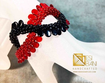 Red/Black Criss-Cross Bracelet, Kumihimo bracelet, beaded bracelet, Statement jewelry