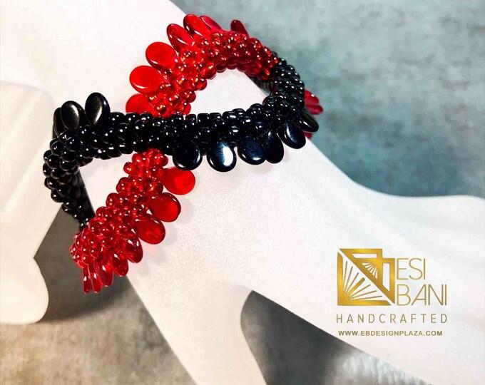 Red/Black Criss-Cross Bracelet, Kumihimo bracelet, beaded bracelet, Statement jewelry