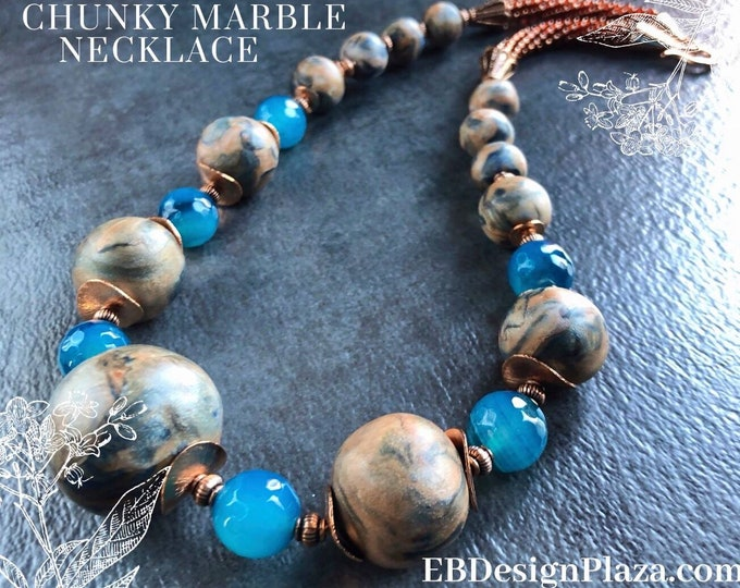 CHUNKY BLUE 'Agate n' COPPER Necklace, Kumihimo Necklace,