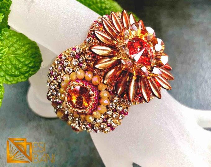 SAHARA SPARKLE Swarovski Crystals Cuff Bracelet, Bead Embroidery, Fuchsia & Honey bracelet, Bling Bracelet