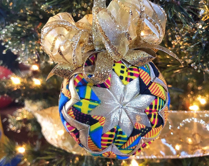 Kente n Lamé Christmas Ornament,  Quilted Fabric Ornament, Round Ornament, Gold n Blue Royal Ornament,  Ankara African Ornament SKU KCO1004