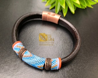 Blue and Copper Beaded Greek Leather/ Unisex Bracelet, Men's Bracelet, Women's Bracelet
