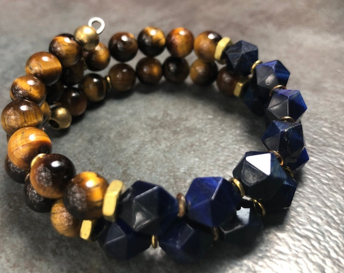 COGNAC at MIDNIGHT MEN'S Tiger Eye Bracelet, Memory Wire Bracelet, Brown & Blue bracelet