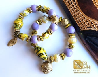 His 'n Hers Purple & Yellow Bracelets/ Recycled Glass Beads/African Beads
