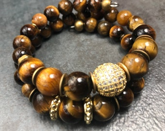 KING CHAKA Mens Tiger Eye Bracelet, Memory Wire Bracelet, Gemstone Bracelet