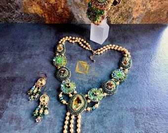 SAHARA GREEN n GOLD Swarovski Necklace, Bracelet & Earrings Set/ Boho Chic Jewelry/ Statement Necklace, Bead Embroidery, Ornate set BES1005