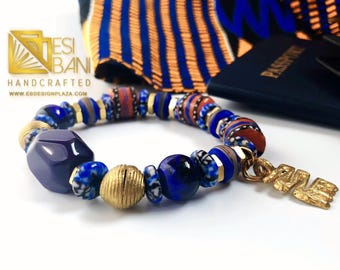 Blue 'n Brass Men's Bracelet/ African Jewelry/ Handcrafted Jewelry/ Men's Fashion