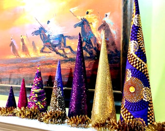 Purple Gold Christmas Cone Trees,  Fabric Holiday Trees,  Graduated size trees, Velvet trees, Gold Blue Red Ankara African Trees SKU KCT2001