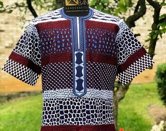 Embroidered African Men's Short Sleeves Shirt, Wax print, Ankara Shirt, Summer Shirt, Party shirt, Cotton Shirt, Kitenge Shirt, SKU MWPS1016