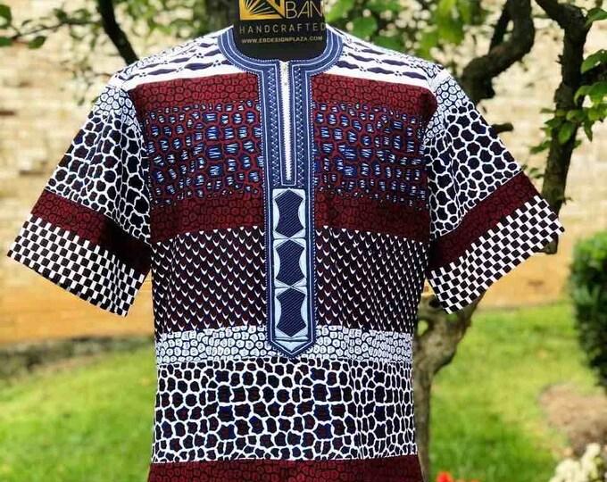 Embroidered African Men's Short Sleeves Shirt, Wax print, Ankara Shirt, Summer Shirt, Party shirt, Cotton Shirt, Kitenge Shirt, SKU MWPS1016