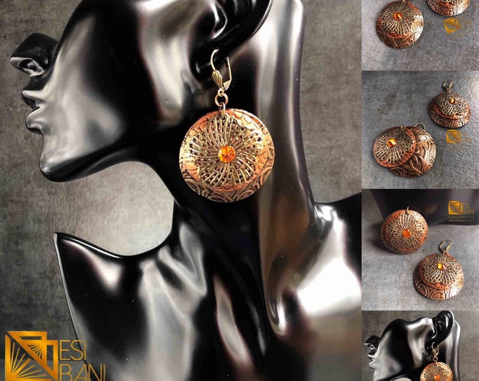 BRONZE DIVA Leather Earrings, Real Leather Jewelry, Lightweight Earrings, Metallic Earrings, Statement Earrings LER1001