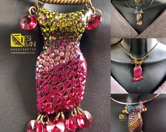 Swarovski Crystal Sculpted Pavé Dress Pendants