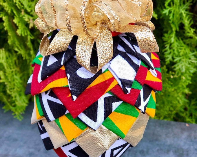 Black white n Kente Christmas Ornament, Quilted Fabric Ornament, Round Ornament, Royal Ornament,  Ankara African Ornament SKU KCO1005
