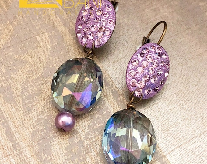 Light Amethyst Fire Crystal Earrings