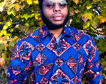BLUE DIAMOND Men's Shirt, Long Sleeve African Print Shirt
