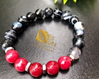 Agate'n' JadeStretch Bracelet/ Gemstone Bracelet/ unisex jewelry