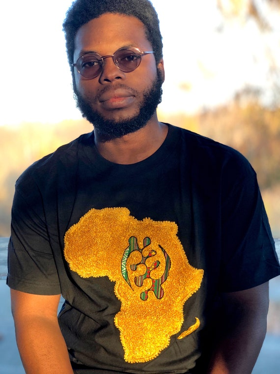 Embroidered AFRICAN MAP T-SHIRT, unisex t-shirt, African vibe t-shirt,