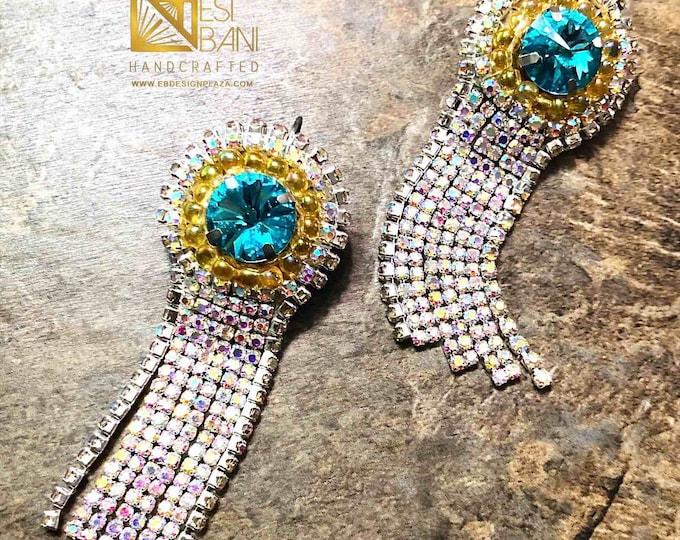 Turquoise Crystal Fringe Earrings, Long Earrings, Turquoise Swarovski Crystal & Clear rhinestoneEarrings