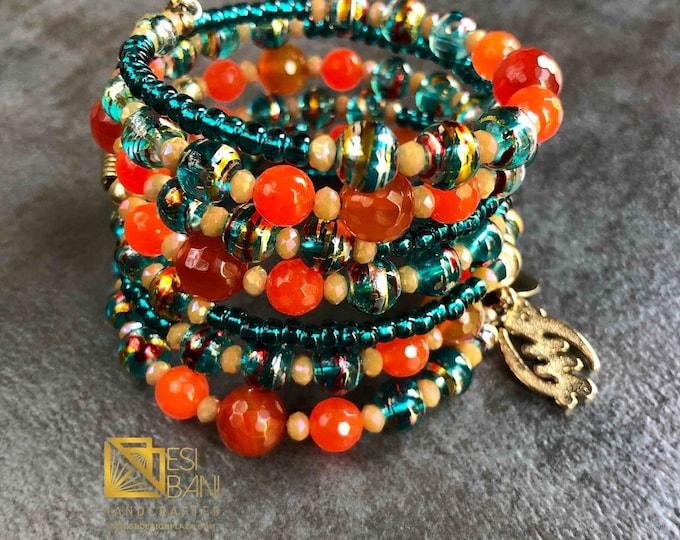 PARADISE Carnelian n Teal Wrap Cuff Bracelet, African Brass,