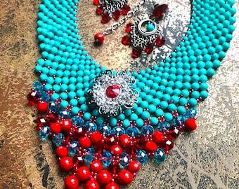 Turquoise 'n Red Sizzle Neckpiece & Earrings Set/ Boho Chic Jewelry/ Statement Neckpiece SKU # BN1001