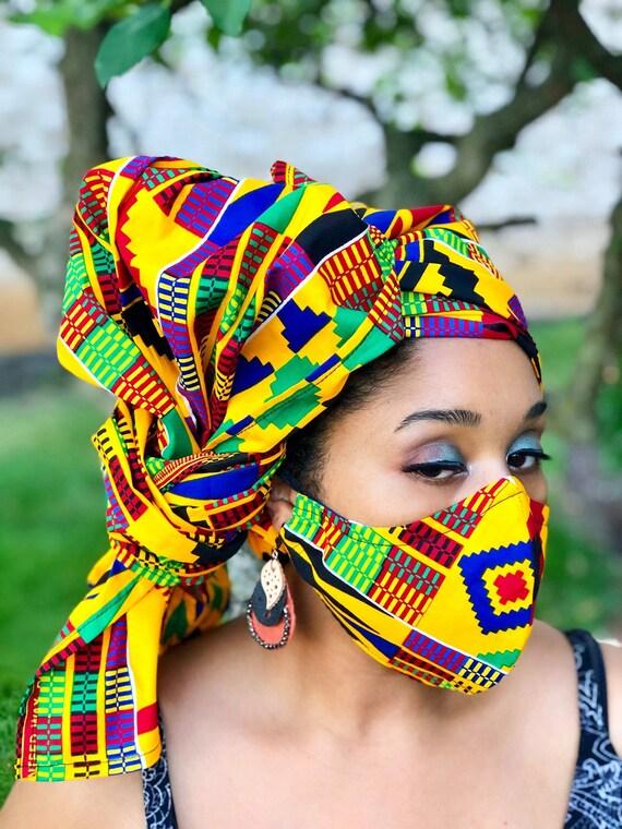 HEADWRAP & FACE MASK set, African Print Face Mask, Ankara Mask, 100% Cotton Reusable Face Mask w/ Filter Pocket, Shaped Mask HWFM2015