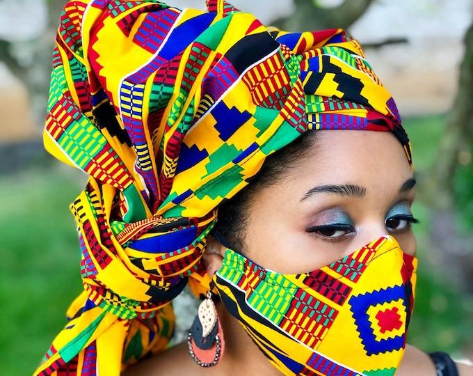 Golden Kente HEADWRAP & FACE MASK set, African Print, Ankara Mask, 100% Cotton Reusable Face Mask w/ Filter Pocket, Shaped Mask HWFM2015