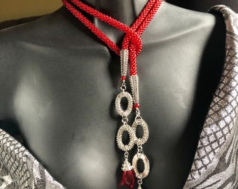 RED SANTA LARIAT Necklace, Kumihimo lariat, Holiday Necklace, Statement Necklace
