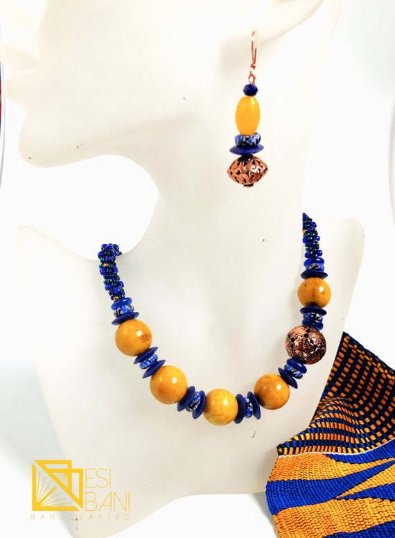 Kente Whispers Necklace and Earrings Set/ blue and yellow Kumihimo/ beaded braids/ Porcelain beads/ copper focal bead/ Japanese Toho beads