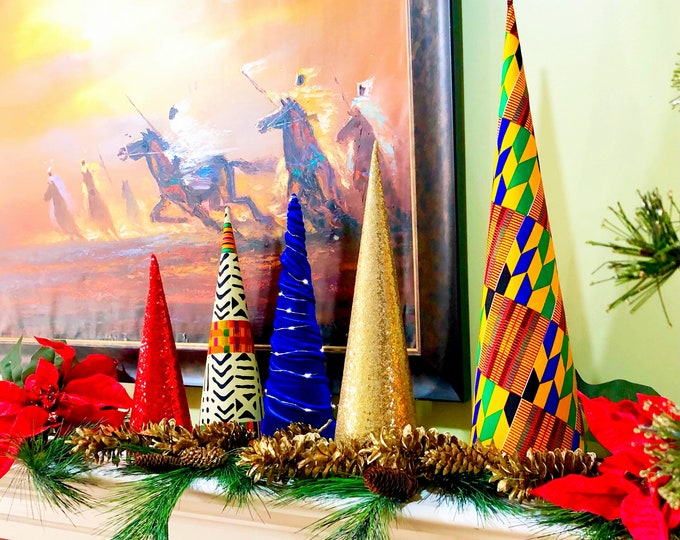 Kente Christmas Cone Trees,  Fabric Holiday Trees,  Graduated size trees, Velvet trees, Gold Blue Red Ankara African Trees SKU KCT2001