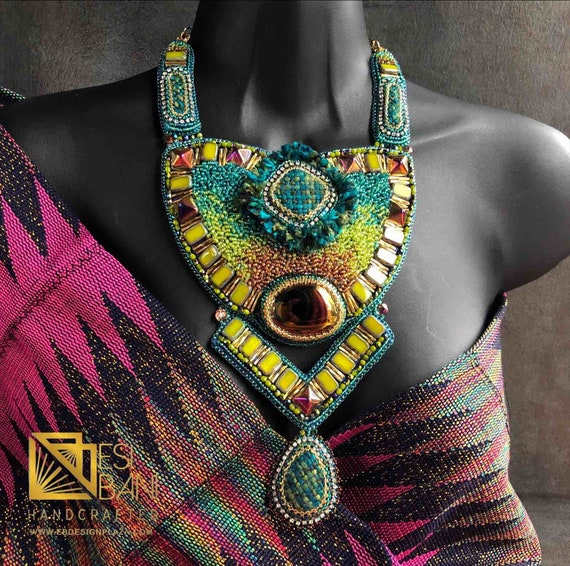 "TEAL n' SUNSET AMBER ""Chanel in the Topics"" Necklace/ Bead Embroidery/ Swarovski Crystal Neckpiece/ Statement Necklace"