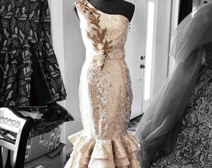 Gold 'n' Ivory One-Shoulder Mermaid Dress, Brocade Dress, Floral Appliqué, Couture Dress, Special Occasion, Bridal, Wedding Anniversary